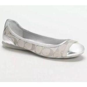 Coach Cecile Signature Logo Cap Toe Ballet Flats